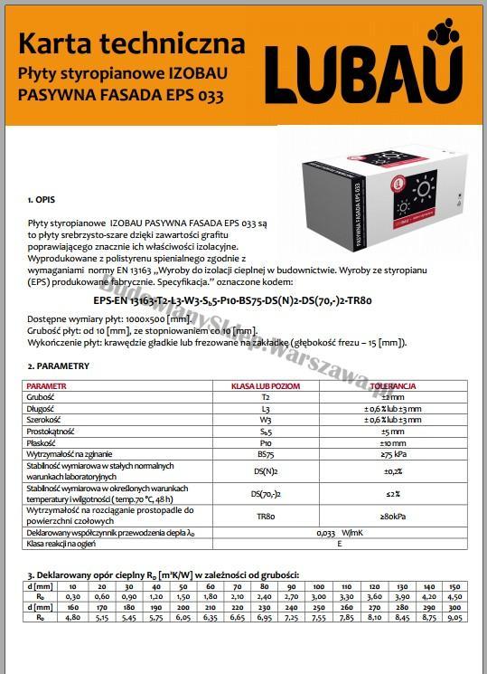 Karta techniczna Izobau EPS033 styropian grafitowy