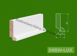 Cokół drewniany biały- lakierowany SKWH6030/43,2  szer. 30mm x wys. 60mm, cena za mb