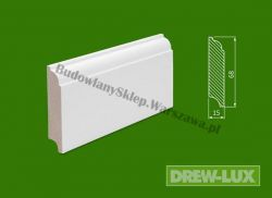 Cokół drewniany biały- lakierowany SKWH6815/48 - szer. 15mm x wys. 68mm, cena za mb