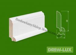 Cokół drewniany biały- lakierowany SKWH6827/36 - szer. 27mm x wys. 68mm, cena za mb