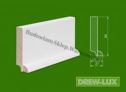 Cokół drewniany biały- lakierowany WH8027/38,4 - szer. 27mm x wys. 80mm, cena za mb