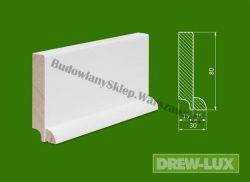 Cokół drewniany biały- lakierowany SKWH8030/38,4 - szer. 30mm x wys. 80mm, cena za mb