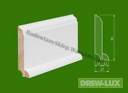 Cokół drewniany biały- lakierowany WH9127/38,4 - szer. 27mm x wys. 91mm, cena za mb