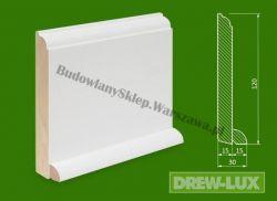 Cokół drewniany biały- lakierowany SKWH12030/31,2 - szer. 30mm x wys. 120mm, cena za mb
