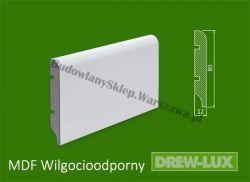 Cokół MDF lakierowany wilgocioodporny biały SKWD1/39,3PLUS - szer. 12mm x wys. 80mm, R1, cena za mb
