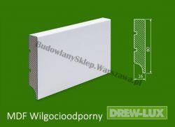 Cokół MDF lakierowany wilgocioodporny biały SKWD12/26,2PLUS - szer. 16mm x wys. 80mm, R1, cena za mb