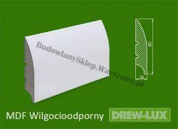 Cokół MDF lakierowany wilgocioodporny biały SKWD18/26,2PLUS - szer. 16mm x wys. 80mm, R1, cena za mb