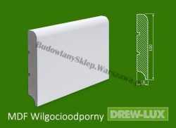 Cokół MDF lakierowany wilgocioodporny biały SKWD6/20,96PLUS - szer. 16mm x wys. 100mm, R1, cena za mb