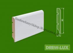 Cokół MDF lakierowany biały SKWD1/39,3- szer. 12mm x wys. 80mm, R1, cena za mb