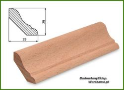Ćwierćwałek bezsęczny bukowy listwa przypodłogowa SKB2929, szer. 29mm x wys. 29 mm , cena za mb