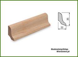 Listwa przypodłogowa jesion bezsęczna SKJ3522 - szer. 22mm x wys. 35mm, cena za mb