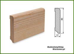 Listwa przypodłogowa cokół jesion bezsęczna SKJ8017/30 - szer. 17mm x wys. 80mm, cena za mb