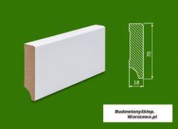 Cokół MDF lakierowany biały SKWS1876/43,2 - szer. 18mm x wys. 76mm, cena za mb