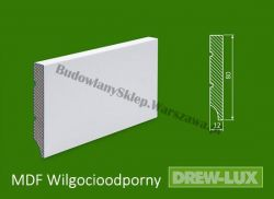 Cokół MDF lakierowany wilgocioodporny biały SKWD3/39,3PLUS - szer. 12mm x wys. 80mm, R1, cena za mb