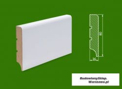Cokół MDF lakierowany biały SKWD13/PLUS- szer. 16mm x wys. 80mm, R5, cena za mb