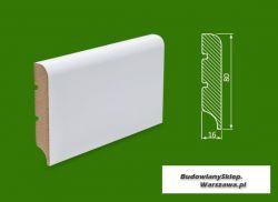 Cokół MDF lakierowany biały SKWD14/26,2.. - szer. 16mm x wys. 80mm, R10, cena za mb