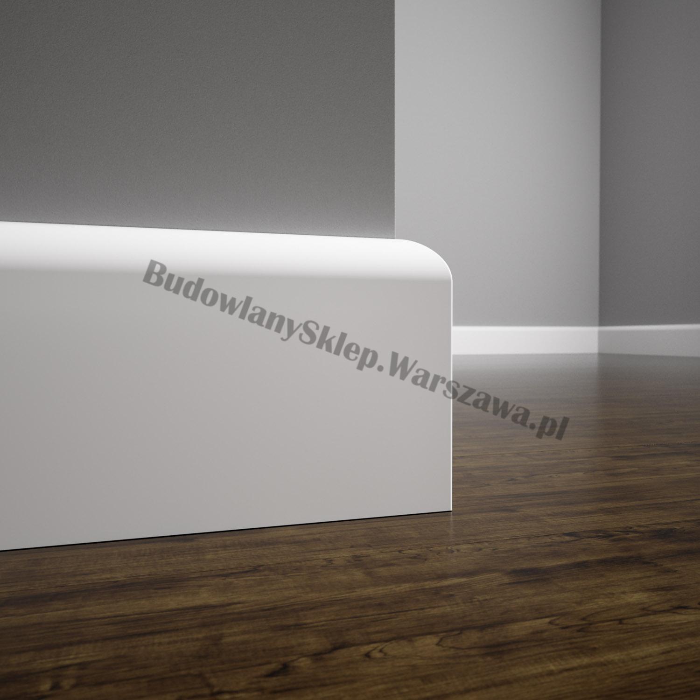 Listwa przypodłogowa MDF biała SKCM8, 8x1,6x244cm lakierowana wilgocioodporna, cena za mb.