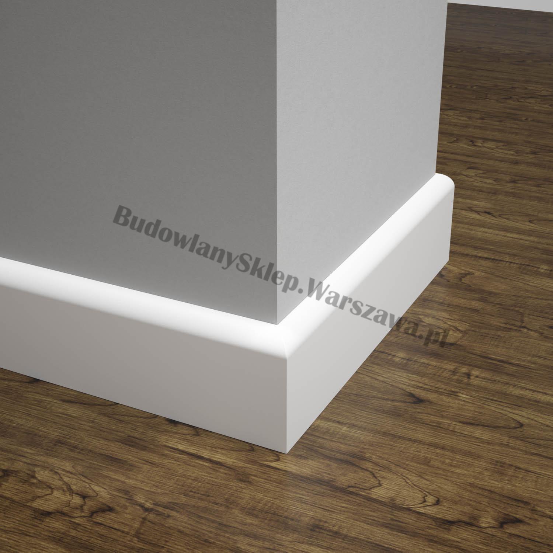 Listwa przypodłogowa MDF biała SKCM8, 8x1,2x244cm lakierowana wilgocioodporna, cena za mb.