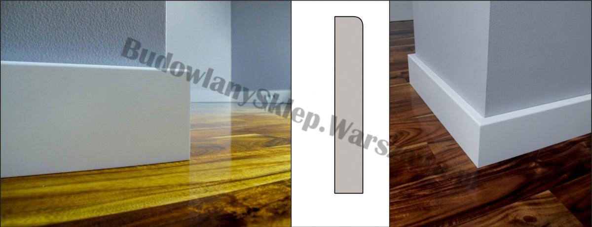 Listwa przypodłogowa MDF biała SKCM3, 10x1,6x244cm lakierowana wilgocioodporna, cena za mb.