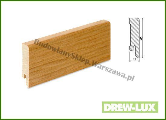 Listwa przypodłogowa okleinowana fornirem dębowym  SKDBA6016/57,5 - szer. 15mm x wys. 60mm, cena za mb