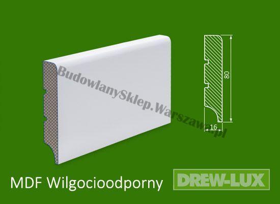 Cokół MDF lakierowany wilgocioodporny biały SKWD13/26,2PLUS- szer. 16mm x wys. 80mm, R1, cena za mb