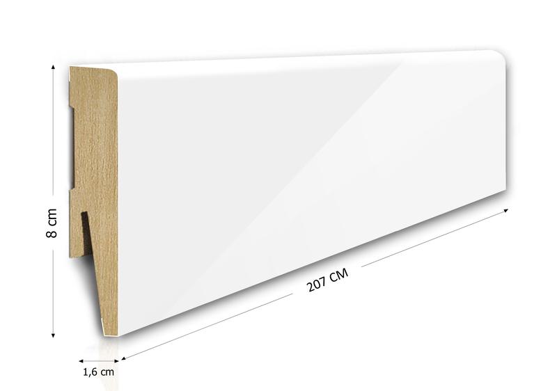 Listwa przypodłogowa MDF 8cm  SKL8/WPB 8x1,6x207cm biały wysoki połysk wodoodporna, cena za mb
