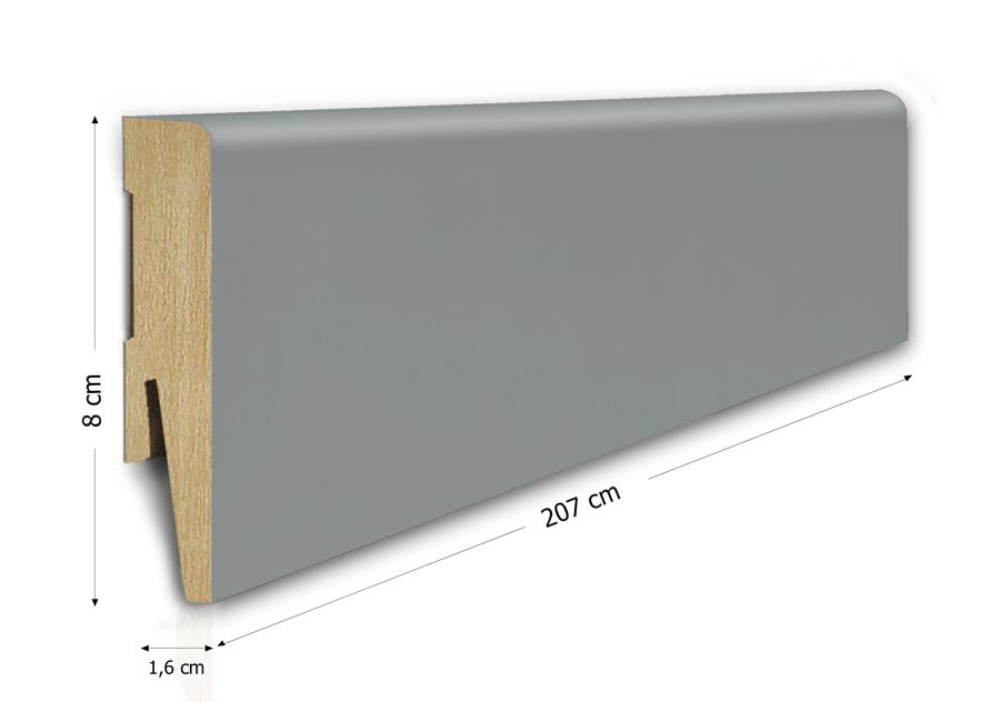 Listwa przypodłogowa MDF 8cm  SKL8/SZARY 8x1,6x207cm szary wodoodporna, cena za mb
