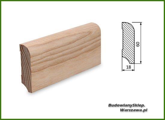 Listwa przypodłogowa cokół jesion bezsęczna SKJ6018  - szer. 18mm x wys. 60mm, cena za mb