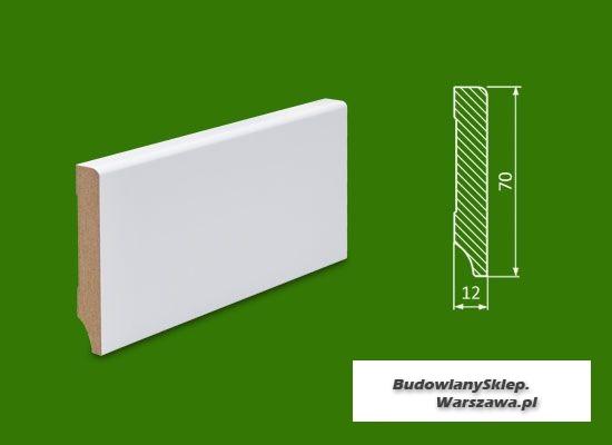 Cokół MDF lakierowany biały SKWS1271/62,4 - szer. 12mm x wys. 70mm, cena za mb