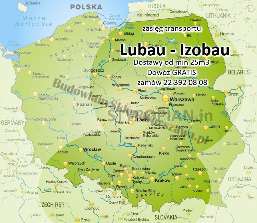 zasięg Izobau Lubau Styropian Warszawa