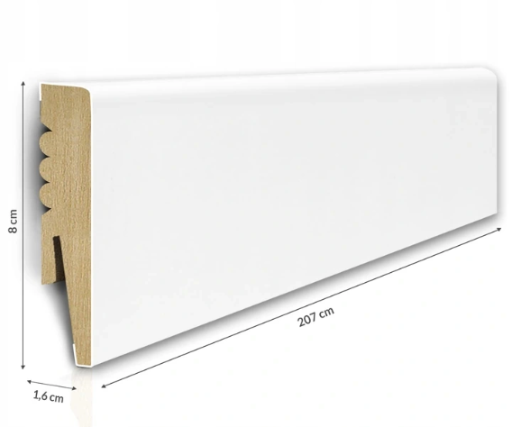 Listwa przypodłogowa MDF biała SKL8 8x1,6x207cm od ręki Warszawa, cena za mb