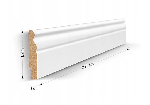Listwa przypodłogowa MDF SKLR6 6x1,2x207cm, cena za mb